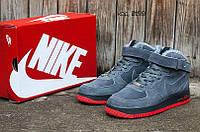 Мужские зимние кроссовки Nike Air Force (Найк Аир Форс) серые