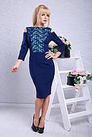 Красивое платье с набивным гипюром с 44 по 52 размер