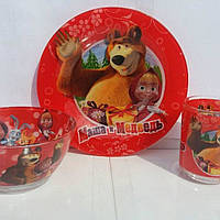 """Детский набор посуды 3 предмета """"Маша и медведь"""""""