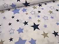"""Польская хлопковая ткань """"звездный карнавал"""" с синими, белыми и золотыми звездами на белом"""