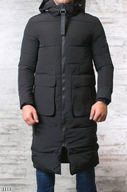 f198a8d281d5e Куртка длинная мужская зимняя черная плащевка 46,48,50,52 - Гармония Мод