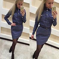 Женское джинсовое платье  в горошек