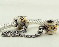 Соединительная цепочка Pandora (Пандора) с золотыми сердечками на резьбе