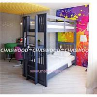 Двухъярусная кровать-трансформер Кузя 1 Chaswood 90x190 Серый Дерево