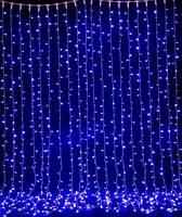 Гирлянда водопад  2,5 м*2 м   синее свечение провод прозрачный