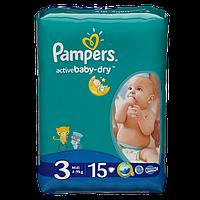 Подгузники 3 Midi 5-9кг 15шт Active baby-dry Pampers 1/1