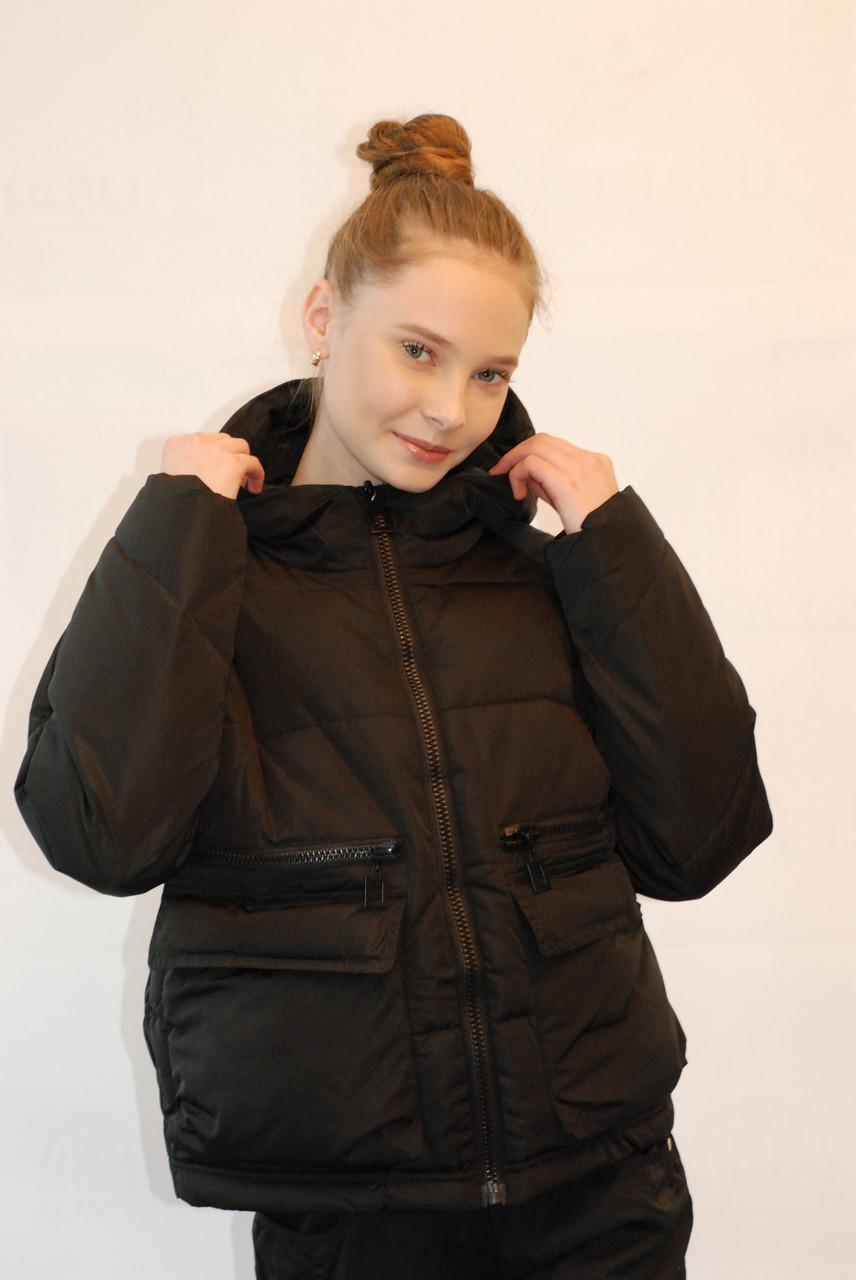 Женская демисезонная куртка Seereal 329-1 черная код 021А  продажа ... 8d8fbaa85fe