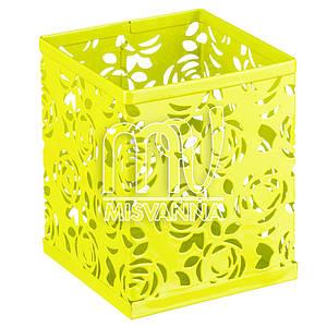 Стакан-подставка для хранения, кубик салатовые розы