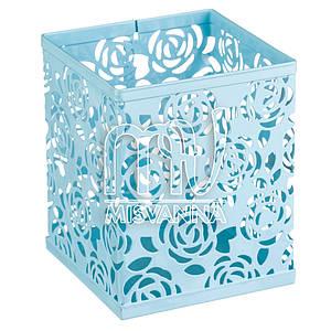 Стакан-подставка для хранения, кубик голубые розы