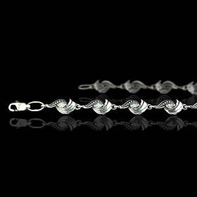Серебряный женский браслет с фианитами, 180мм