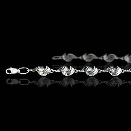 Серебряный женский браслет с фианитами, 180мм, фото 2