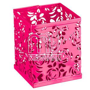 Стакан-подставка для хранения, кубик малиновые розы