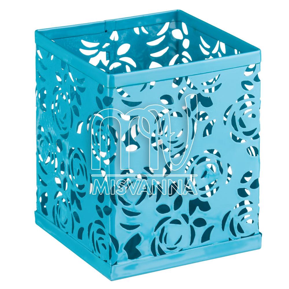 Стакан-подставка для хранения, кубик темно-бирюзовые розы