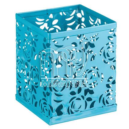 Стакан-подставка для хранения, кубик темно-бирюзовые розы, фото 2