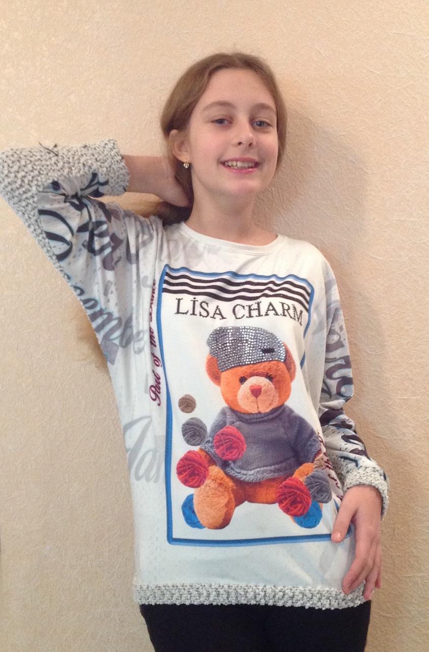 Джемпер для девочки с вязаными рукавами и спинкой Медвежонок