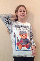 Джемпер для девочки с вязаными рукавами и спинкой Медвежонок, фото 1