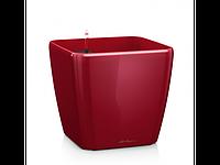 Вазон 28 Quadro LS,  красный глянец, Lechuza 26*28 см
