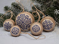Набор елочных шаров «Снежинки» синего цвета