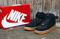 Мужские зимние кроссовки Nike Air Force (Найк Аир Форс) черные