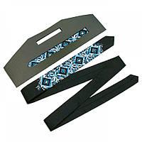 Вузький краватку «Арт» з синьо-блакитною вишивкою