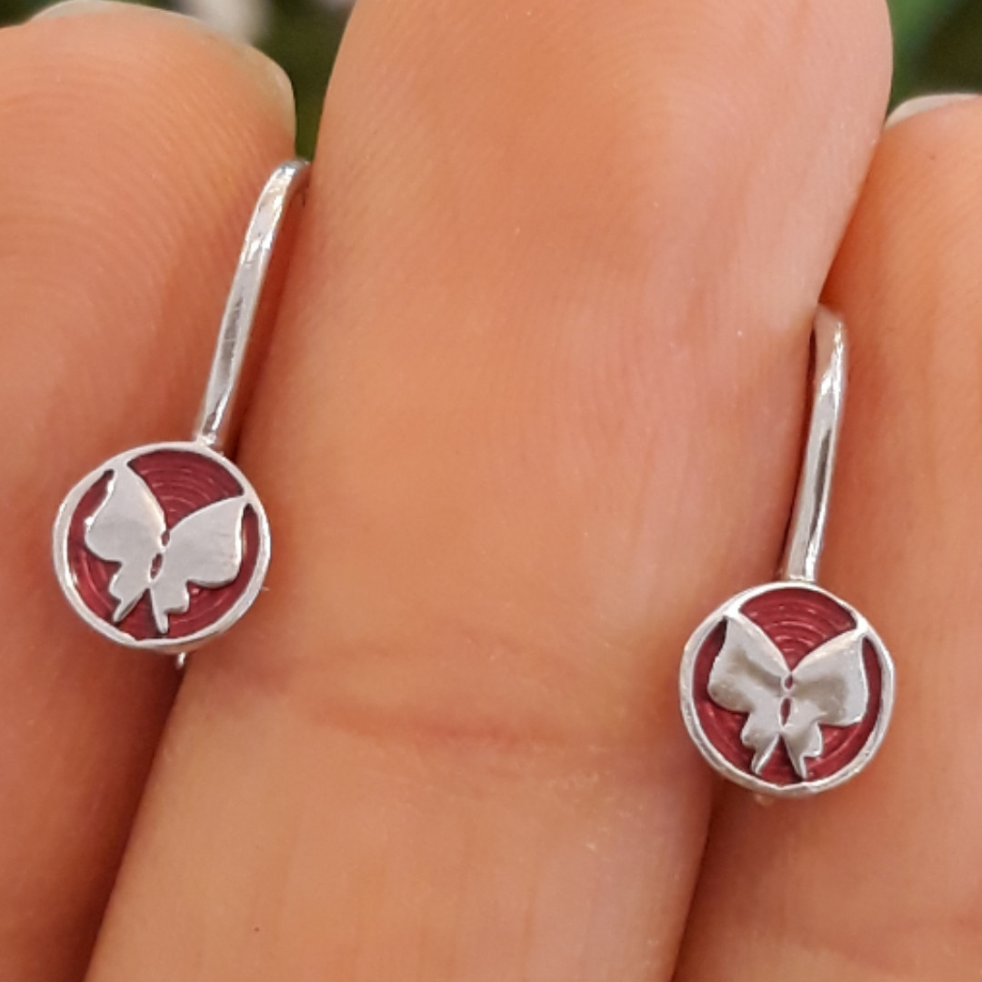 Серебряные серьги для девочки на петельке Бабочка