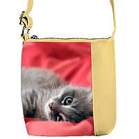 Бежевая сумка детская Принцесса с принтом Кошка