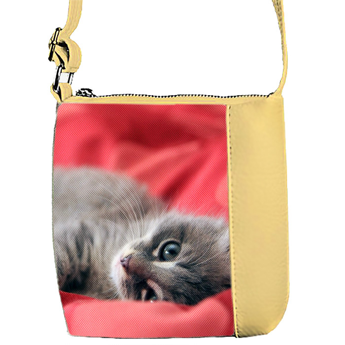Бежевая сумка детская Mini Miss с принтом Кошка
