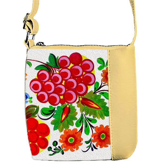 Бежевая сумка детская Mini Miss с принтом Калина