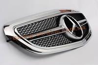 Полностью хромированная решетка радиатора со звездой AMG на Mercedes E-class W212 2013 рестайлинг