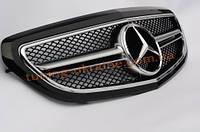 Решетка радиатора со звездой AMG на Mercedes E-class W212 2013 рестайлинг черная глянцевая