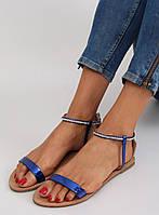 Темно-синие женские сандалии на плоской подошве s060021 40,39