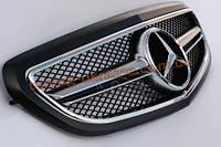 Решетка радиатора со звездой AMG на Mercedes E-class W212 2013 рестайлинг черная матовая