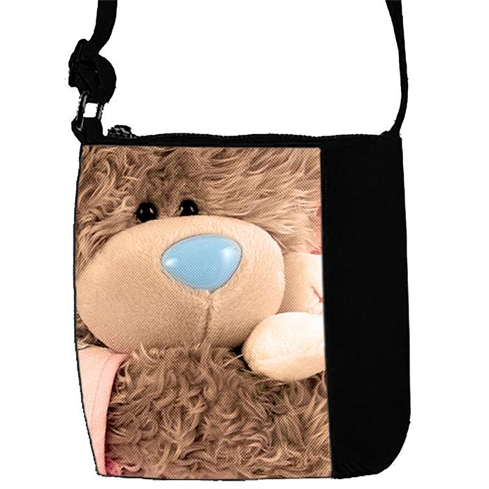Черная сумка для девочки с принтом Мишка Тедди