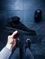 Мужские зимние кроссовки Nike Air Force 1 Mid '07 (Найк Аир Форс) черные
