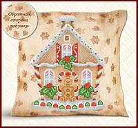 Подушка для вышивки бисером Подушка. Пряничный домик