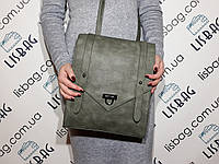 Сумка-рюкзак классический стиль  2в1 зеленого цвета через плече