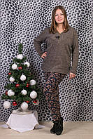 Женские цветные штаны на меху Шугуан 6641-7. Размер 50-56.