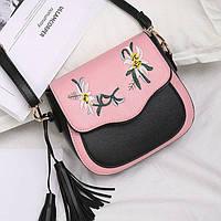 Черно-розовая мини сумочка с цветами