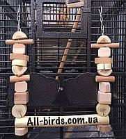 Качеля для больших попугаев с натурального дерева