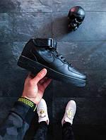 Мужские зимние кроссовки Nike Air Force 1 Mid '07 Leather (Найк Аир Форс) черные