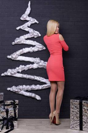 Стильное платье с люрексом коралл, фото 2