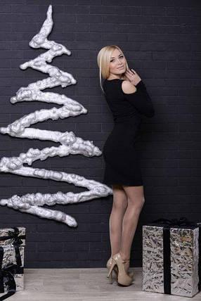 Стильное платье с люрексом черное, фото 2