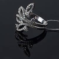 Серебряное родированное кольцо Осина