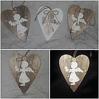 """Елочная подвеска """"Сердце с ангелом"""" из дерева,12.5 см., 35/30 (цена за 1 шт. + 5 гр."""