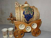 Бочка для вина «Виноград» с деревянным краном и 6 рюмок