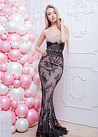 Женское нарядное вечернее кружевное платье в пол