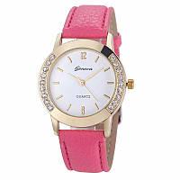 Превосходные женские часы с розовым ремешком Geneva