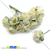 Роза бумажная, 15 мм, Кремовая,1 шт. (DIF-008405)