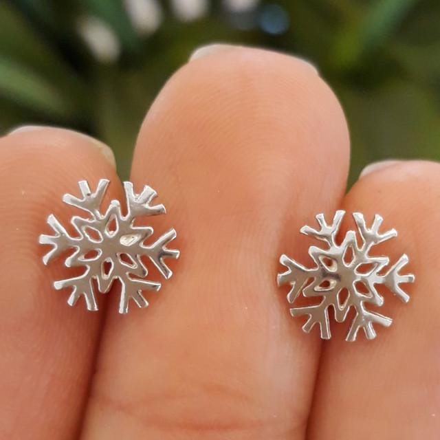 Серьги гвоздики серебро 925 Снежинки фото
