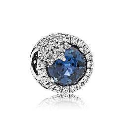 Серебряный шарм «Голубая ослепительная снежинка»